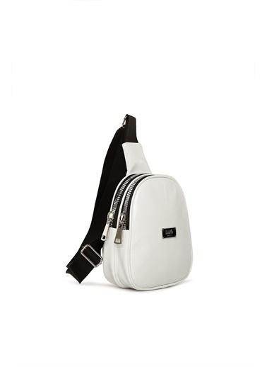 Bagmori Bagi M000004297 Suni Deri Kalın Çift Fermuarlı  Kadın Mini Çapraz Çanta Beyaz